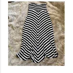 Black And White Asymmetrical Striped Maxi Skirt